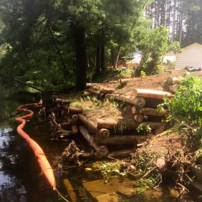 Log Crib Construction For River Bank Stabilization